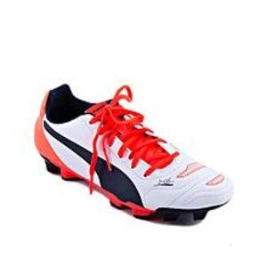 PumaWhite & Orange Leather Football Shoes For Men - 103220 071-UK Size