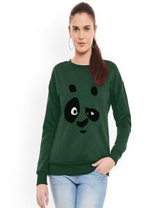 Army Green Panda Printed Sweat Shirt for Women