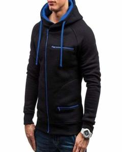Black & Blue Zipper Hoodie for Man