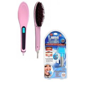 Lahore shop Pack Of 2 - Electric Hair Straightener Brush & Luma Smile - Blue & Pink