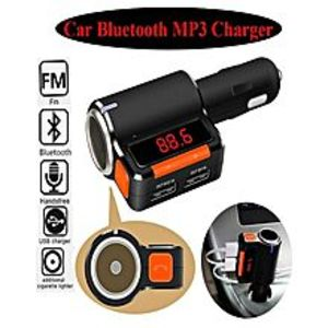 ArbiapkBC09 Wireless Bluetooth Car Charger Hands-free MP3 Player FM Transmitter Dual USB Black Orange