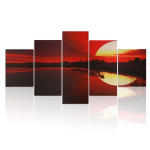 MODERN HOME WALL ART PAINTING ON CANVAS THEME - RED DUSK 5P(NO FRAMED)#049
