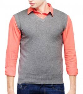 Grey Rib Knit Sweater for Men