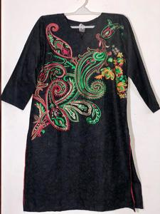 Black with Multi-color - Stylish Embroidered Shirt/Kurta For Women - Stitched