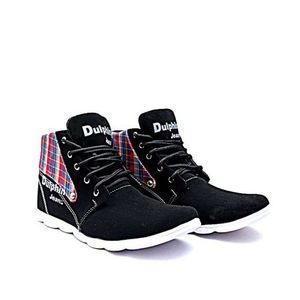Black Cotton Casual Lifestyle Sneakers for Men