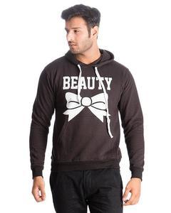 Black Beauty Printed Cotton & Wool Hoodie for Men