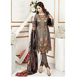 Brown Embroidery Lawn UnStitched 3 Piece Suit