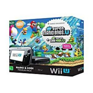 Nintendo  WII U With Super Mario Bros U & Super Luigi U - NTSC - Black