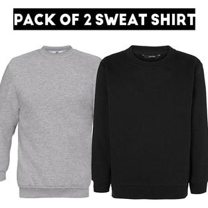 Pack Of 2 - Sweat Shirt Black & Heather Grey For Men