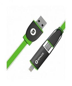Lightning /Micro - Usb To Usb Cable Model Ce-404 2 In 1, 125 Cm - Green