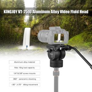 "KINGJOY VT-2510 Video Fluid Head Hydraulic Damping Tripod Ball Head with 1/4"" & 3/8"" Screw Mounts  for Sony Nikon Canon DSLR Cameras Max Load Capacity 10kg"