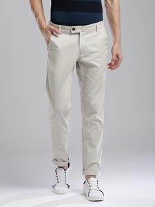 White Slim Fit Solid Jeans for men