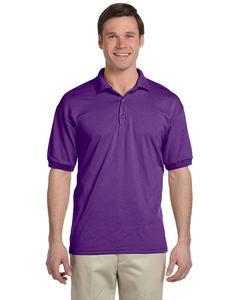Purple Plain Polyester & Cotton Polo Shirt For Men