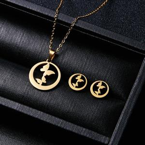 Gold Color Stainless Steel Sets For Women Necklace Earrings Jewellery Set
