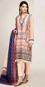 Un-Stitched Khaadi Embroidered Lawn Replica Dress for Women