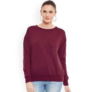 Maroon Fleece Sweat Shirt For Women
