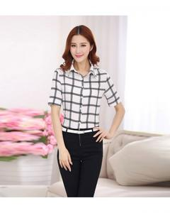 White Check Womens Blouse Turn-Down Collar Office Ladies Shirt