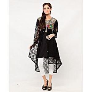 MardazBlack Cotton & Net Embroidered Kurta for Women