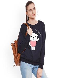 Black Good Morning Panda Printed Sweat Shirt for Women