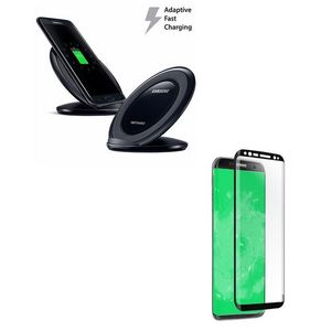 Pack of 2- Samsung S8 Plus Fast Wireless Charger & 4D Tempered Glass Black