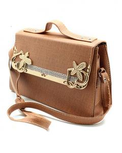 Light Brown Ladies Rexine Bag With Long Shoulder Strap - BG112
