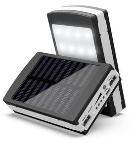 Solar Power Bank with 20 LED Light - Black