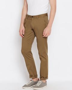 Men Brown Chrysler Fit Solid Chinos