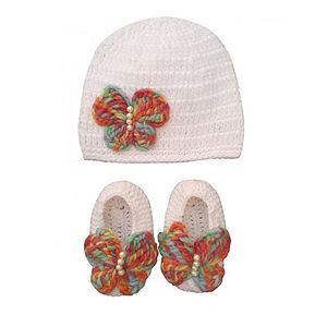 KHOUZH White Wool Butterfly Cap & Booties Set For Baby Girls- Kcs05