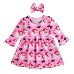 Toddler Infant Baby Kids Girl Christmas Santa Claus Princess Dress Headband Set