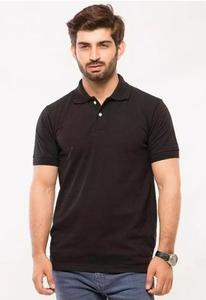 Black Plain Poly-Cotton Polo T Shirt
