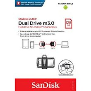 SanDisk 128GB Ultra Dual USB 3.0 / m3.0, Speed Up to 150MB/s OTG USB Drive