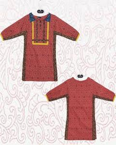 Multicolor Cotton Embroidered Kurta For Girls