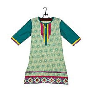 Amaze CollectionYellow Cotton Printed & Embroidered Kurta for Girls