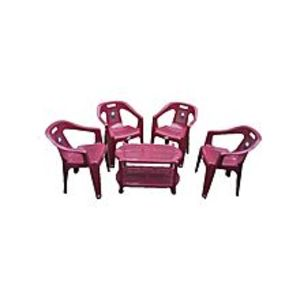 CHIEF(Boss) Set Of 4 Plastic Chairs And Plastic Table - Maroon