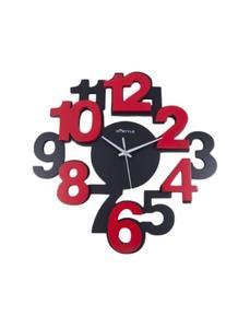 Numbers Art Mirrorless Silent Non Ticking Kids Gift Wall Clock - Black Red