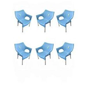 CHIEF(Boss) Set Of 6 Rattan Plastic Chairs - Blue