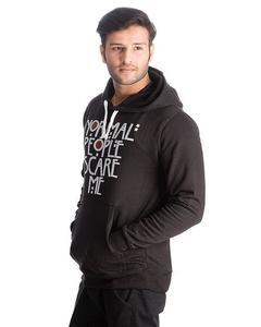 Black Cotton & Wool Normal People Scare Me Printed Hoodies For Men