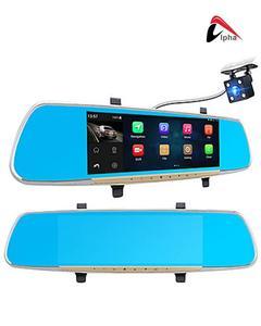 "Car DVR 7"" Touch screen Dual Camera Rearview Mirror Dash Cam"