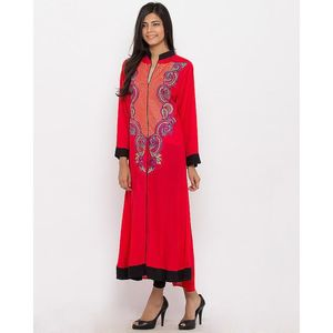 S.M COLLECTION Red Linen Embroidered A Line Flared Kurta for Women - J-16