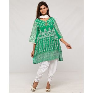 Contessa Green Boski Cotton Embroidered Kurta With Tulip & Dupatta For Women
