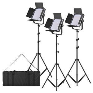 "LED-600A 3pcs LED Video Light Panel with 197cm/78"" Metal Light Stand 40W Dimmable 576pcs Beads/ Filter/U-Bracket/Carry Bag for Canon Nikon Sony DSLR Studio Photo Portrait Lighting"