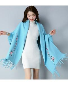 Sky Blue Embroidery Shawl For Women
