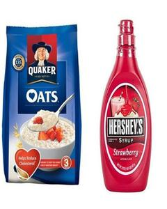 Pack Of 2- Oats 400G & Hersheys Strawberry Syrup 680G