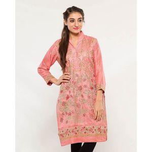 CARDINAL KNKE3  - Pink Embroidered Cotton Khadi Kurti For Women