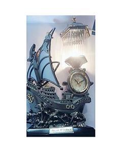 Table Boat Lamp Clock