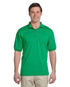 Green Plain Polyester & Cotton Polo Shirt For Men