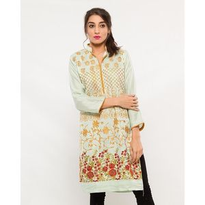 CARDINAL KNKE1  - Mint Embroidered Cotton Khadi Kurti For Women