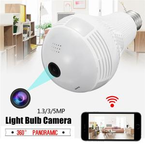 Wireless Panoramic Monitoring Camera VR 360 Degree Panoramic Home Security CCTV 2.4G WiFi Light Bulb Camera 5MP