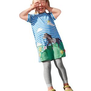 Toddler Infant Baby Kids Girls Cartoon Dresses Striped Animals Outfits Clothes