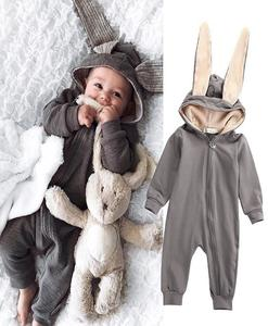 Kids Warm Long Sleeve Bunny Style Pajamas Infant Cotton Zipper Jumpsuits Baby Newborn Rabbit Hooded